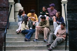 Students Sitting on Steps